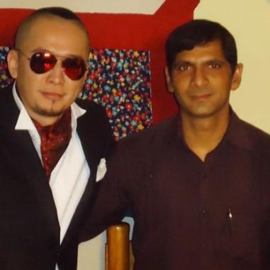 With Singer Amraa