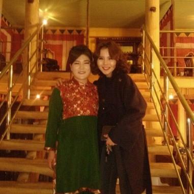 With singer Khishigdalai